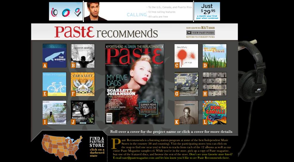 Screenshot of Paste magazine