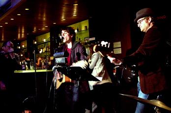 Max Gabriel performing at Amanda Stern's Happy Ending Reading Series